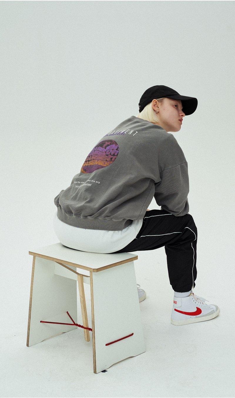 오앤에이(ONA) 베이스먼트 냅핑 워싱 스웨트셔츠[핑크]